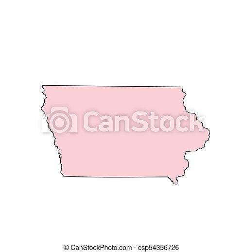 Iowa Map Isolated On White Background Silhouette Iowa Usa State