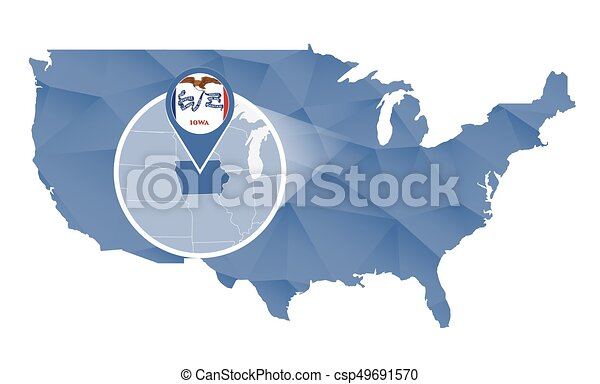 iowa state magnified on united states map abstract usa map in blue color vector illustration