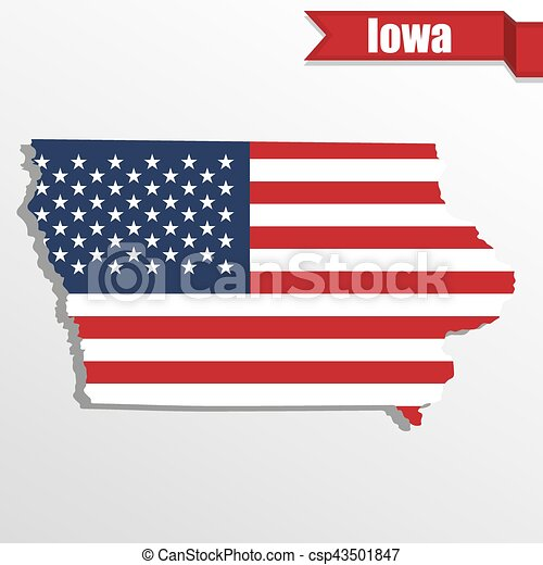 Iowa State map with US flag inside and ribbon