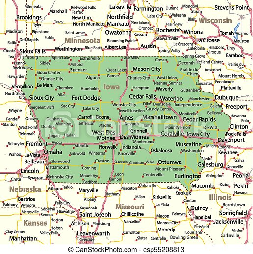 Iowa Map With Highways.Map Of Iowa Shows State Borders Urban Areas Place Names Roads
