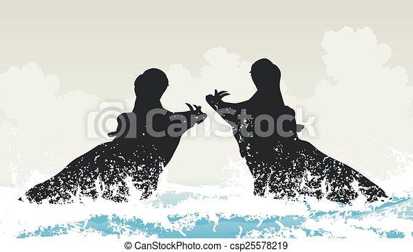 ippopotami, combattimento - csp25578219