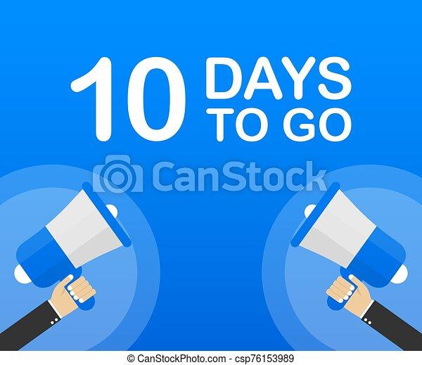 ir, 10, plano, fondo., mercadotecnia, vector, empresa / negocio, illustration., bandera, advertising., azul, días, icono - csp76153989