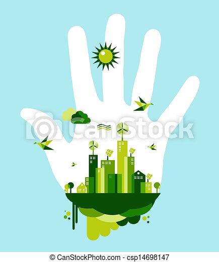 ir, cidade, conceito, verde, mão - csp14698147