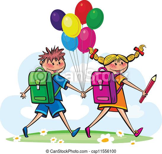 Los niños van a la escuela - csp11556100