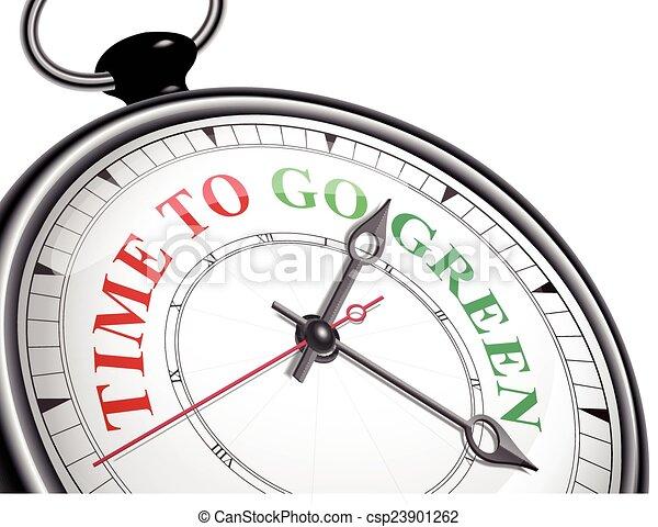 Hora de ir al reloj de concepto verde - csp23901262