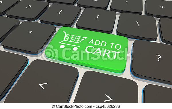 Añadir a la carretilla en internet teclado de computadora ilustración 3D - csp45626236