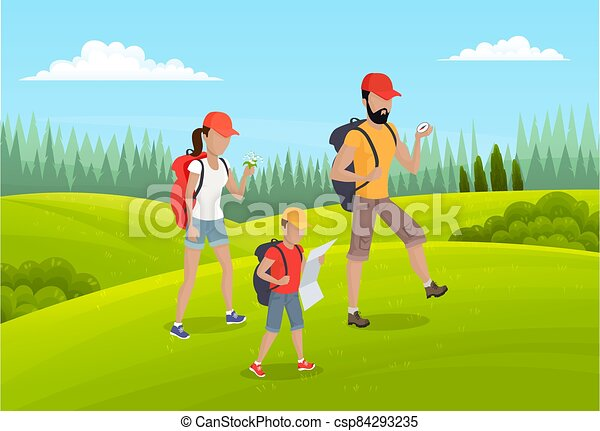 ir, gente, madre, activo, familia , padre, verano, hijo, feliz, time., campamento, viaje, estilo de vida - csp84293235