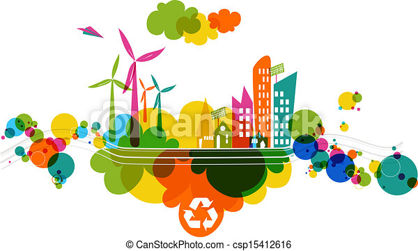 ir, verde, city., transparente, colorido - csp15412616