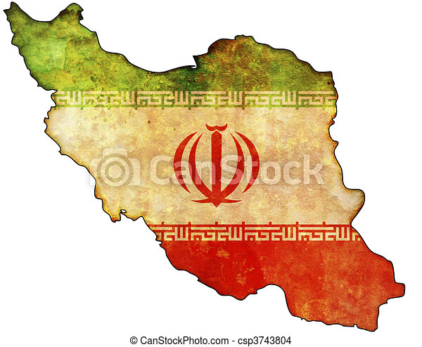 iran map some old vintage map with flag of iran
