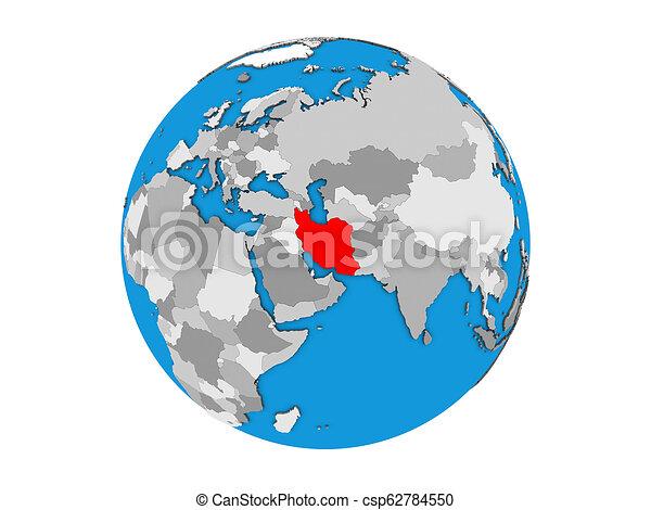 Iran on 3D globe isolated - csp62784550