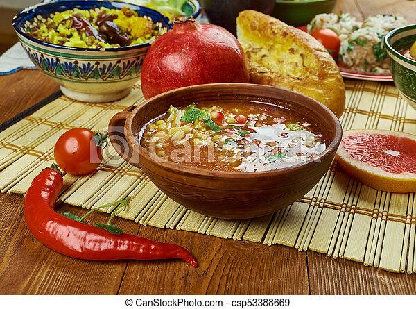 Iranian pomegranate soup. Iranian cuisine - ash-e anar ... Persian Pomegranate Soup