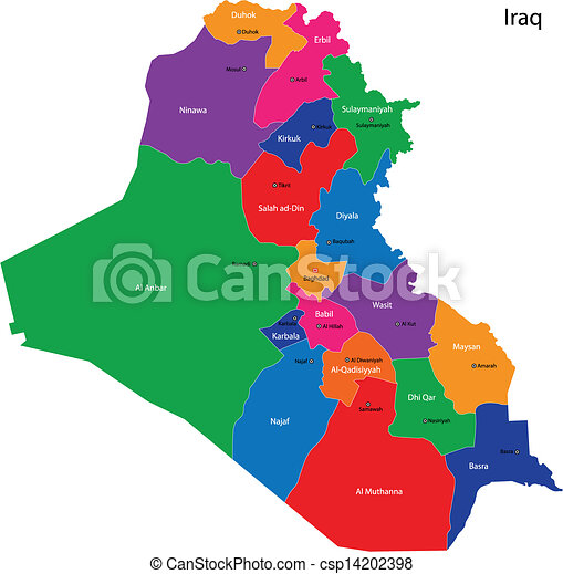 Iraq map Map of administrative divisions of iraq eps vectors