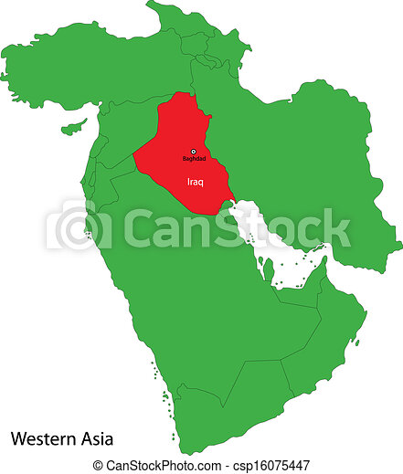 Iraq map Location of iraq on western asia eps vector Search Clip