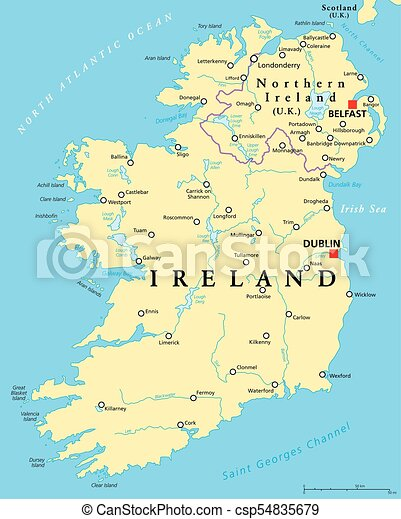 Map Of Uk And Ireland With Cities.Ireland And Northern Ireland Political Map