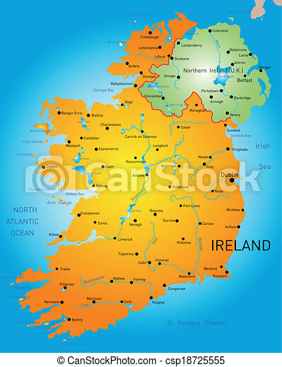 Detailed Map Of Ireland Vector.Vector Detailed Map Of Ireland Country