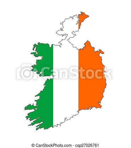 Country Map Of Ireland.Ireland Flag Map Ireland Country Flag Map Shape National Symbol