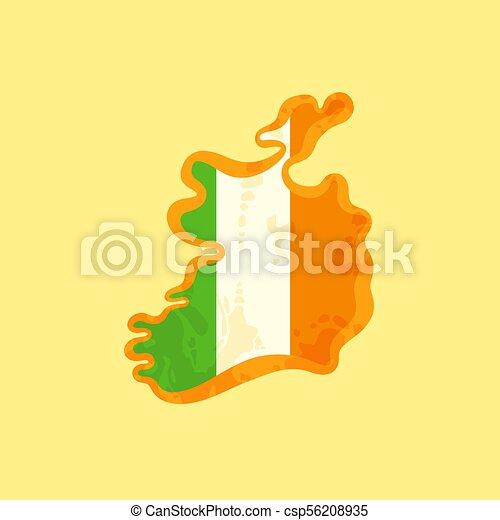 Ireland - Map colored with Irish flag - csp56208935