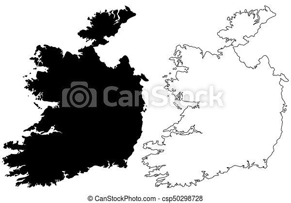 Sketch Map Of Ireland.Ireland Map Vector