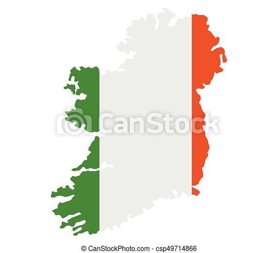 Ireland map with flag - csp49714866