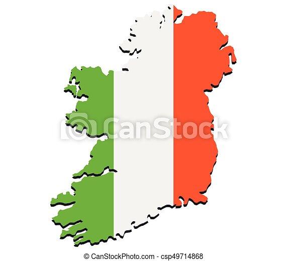 Ireland map with flag - csp49714868