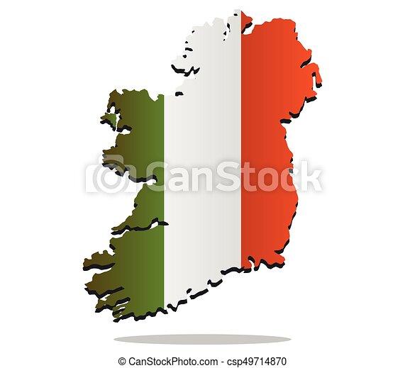 Ireland map with flag - csp49714870