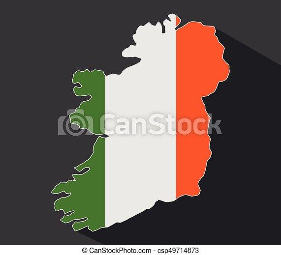 Ireland map with flag - csp49714873