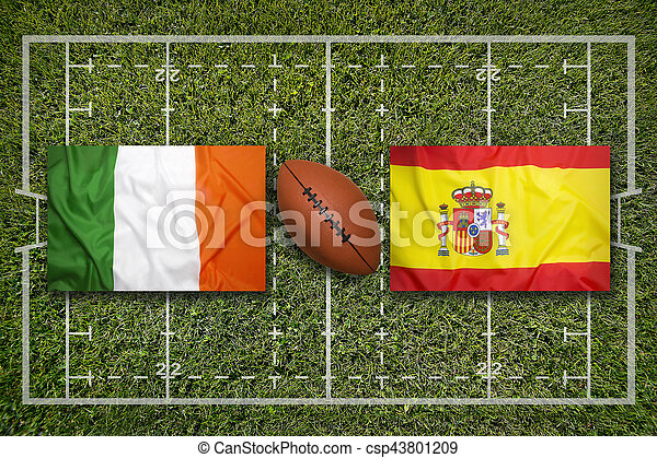 ireland vs spain flags on rugby field ireland vs spain flags on