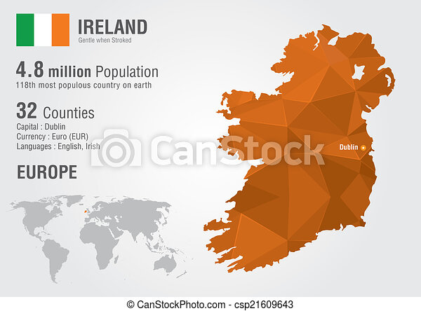 World Map Of Ireland.Ireland World Map With A Pixel Diamond Texture