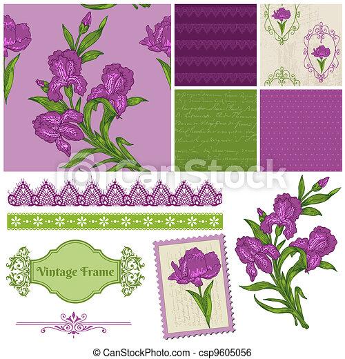 iris, communie, -, vector, ontwerp, plakboek, bloemen - csp9605056
