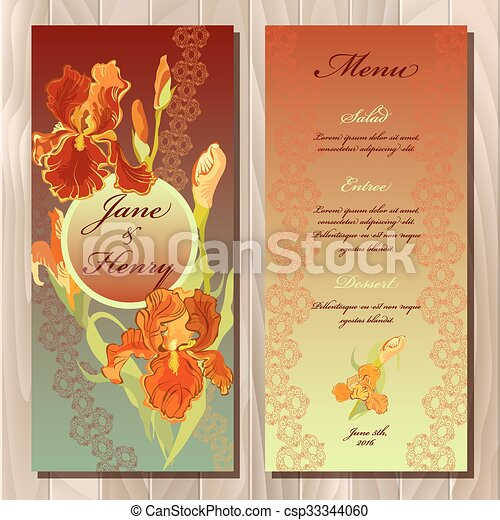 picture regarding Printable Backgrounds titled Iris flower marriage menu card. Printable Vector instance