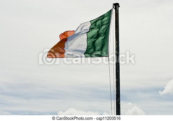 irish flag the irish tricolour flag flying from a flag pole