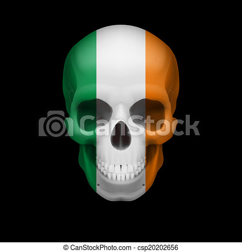 irish flag skull human skull with flag of ireland threat to