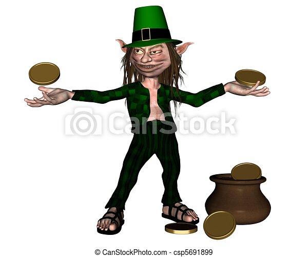 Irish Leprechaun with pot of gold - csp5691899
