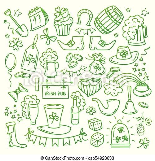 Irish Saint Patrick s Day icons and elements isolated on white background. Traditional hand drawn Irish party symbols . Doodle style vector illustration. - csp54923633