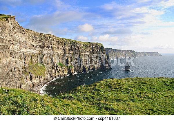 irländsk, kväll, moher, sent, berömd, solnedgång, klippor - csp4161837