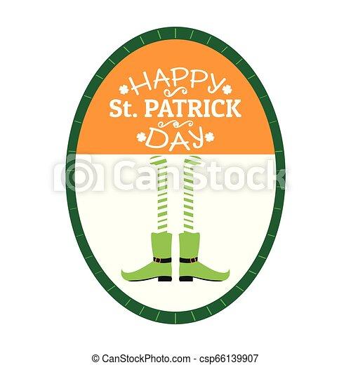 El sello de Patrick Day con piernas de elfo irlandés - csp66139907