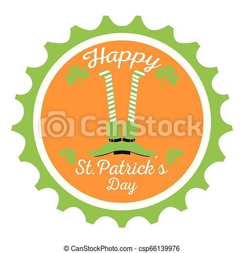 El sello de Patrick Day con piernas de elfo irlandés - csp66139976