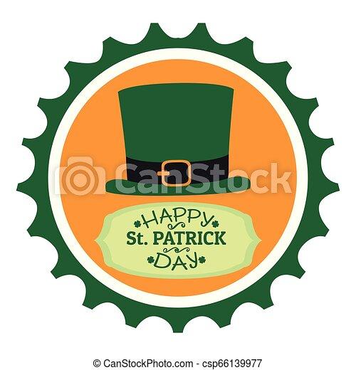 El sello de Patrick Day con piernas de elfo irlandés - csp66139977