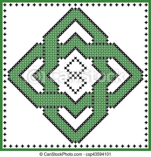 irlandais, ancien, rosette, patrick's, point, modèle, inspiré, fond, croix,  rue, culture, forme, noir, celtique, noeud, écossais, blanc vert, jour,