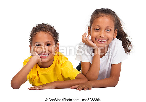 irmã, americano africano, irmão - csp6283364