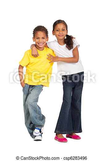 irmã, americano africano, irmão - csp6283496