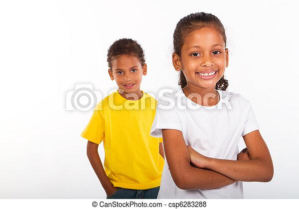 irmã, americano africano, irmão - csp6283288