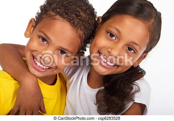 irmã, americano africano, irmão - csp6283528