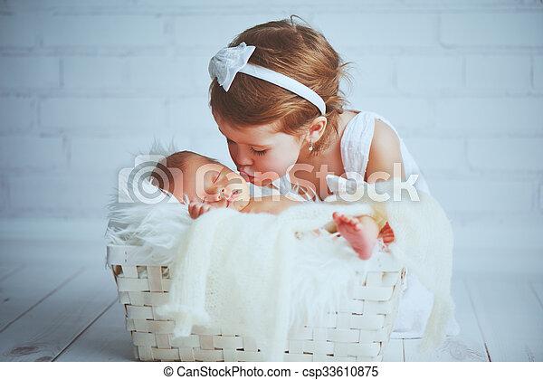irmã, beijos, sonolento, irmão, recem nascido, luz, bebê, crianças - csp33610875