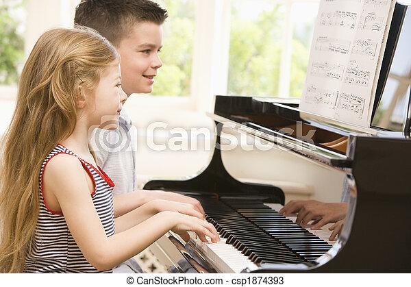 irmã, piano jogo, irmão - csp1874393