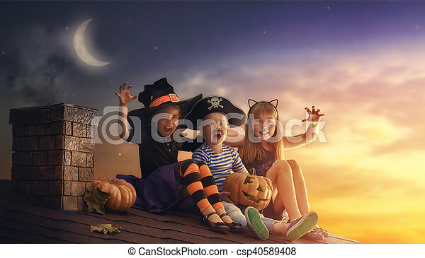 irmãs, dia das bruxas, irmão, dois - csp40589408