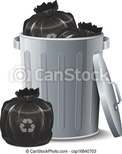 Iron Bin With Garbage Bag  - csp16840703