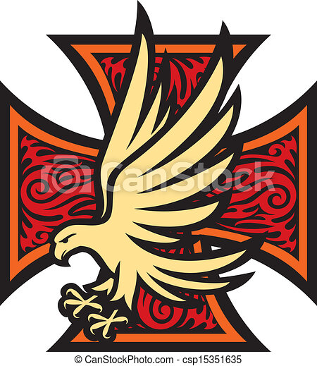 iron cross in tattoo style and eagle - csp15351635