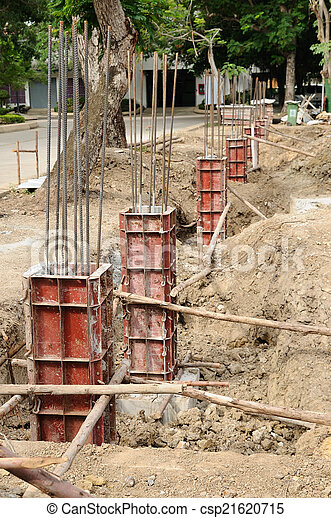 Iron formwork concrete foundation at building yard - csp21620715
