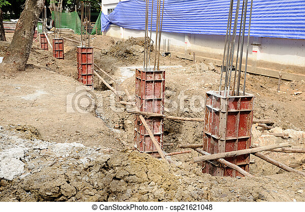 Iron formwork concrete foundation at building yard - csp21621048